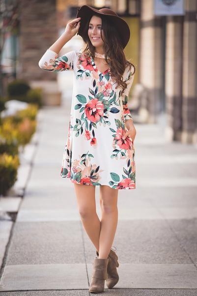 Spring Forward Floral Choker Dress (Ivory)
