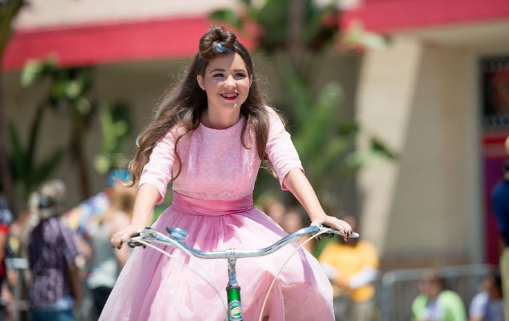 """Miss Teen Long Beach Antonia Molina rides in the """"Vintage Bike + Fashion Show"""" on May 11, 2013. Image by Allan Crawford. #eSpokes"""