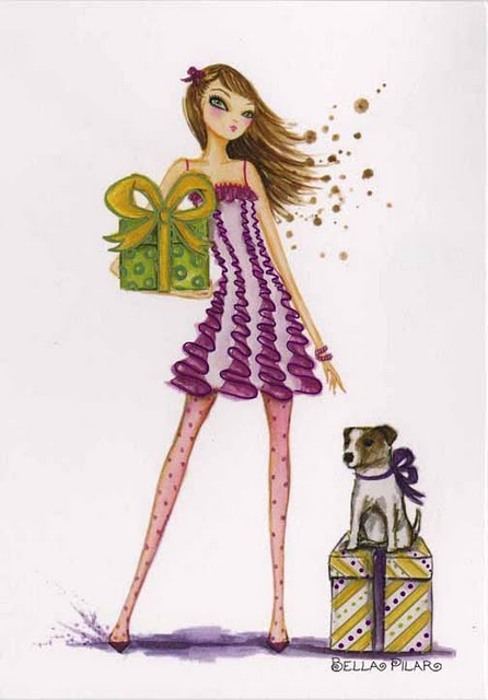 Happy Birthday Girl Illustration ~ Best images about bella pilar drawings on pinterest valentines studios and canvas prints