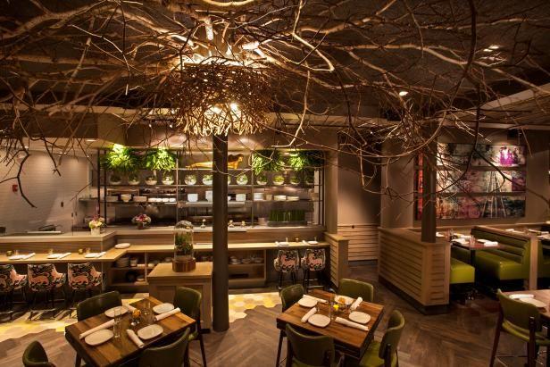 Glowing Tree Canopies Illuminate Asian Restaurant