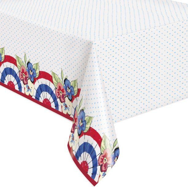 Pioneer Woman Red White And Blue Patriotic Plastic Party Tablecloth 108in X 54in 2ct Walmart Com In 2020 Party Table Cloth Patriotic Tableware Red And White