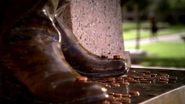 For good luck on tests and exams, students put pennies on the feet of the Sul Ross Statue which stands proudly in Academic Plaza.