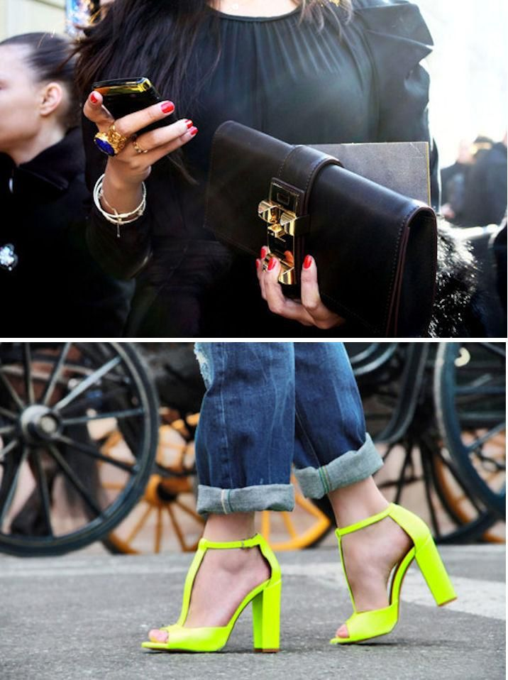 Hermes clutch #LUST neon shoes #TREND