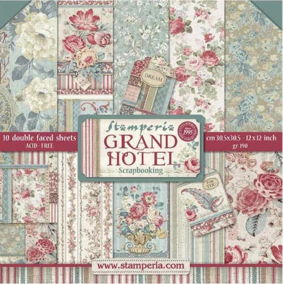 Grand Hotel By Stamperia 10 Sheets Double Sided Paper Pad Free Shipping Products Paper Scrapbook Grand Hotel