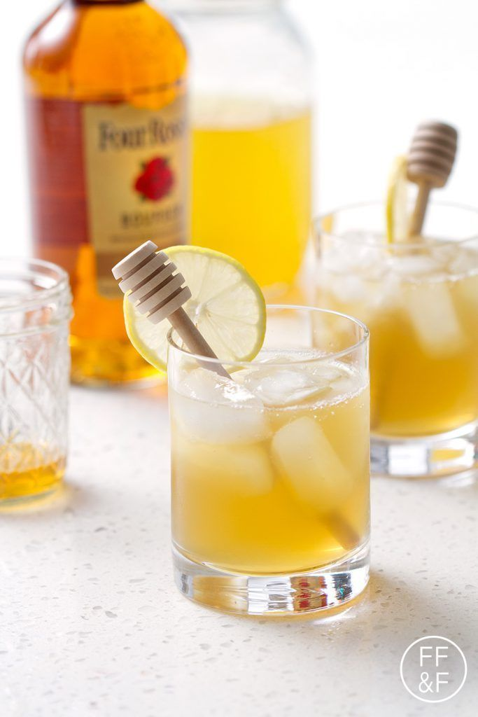 Honey simple syrup mixed with green tea and bourbon. Sweet (green) tea with a twist. Refreshing and delicious!