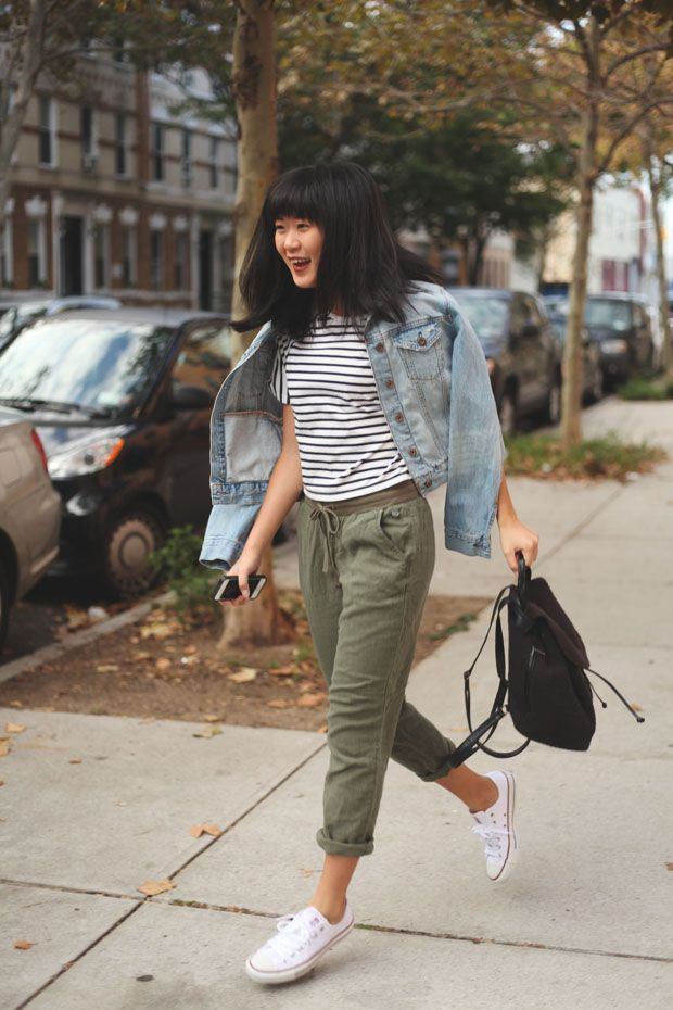 Denim Jacket, Striped Crop Top, Olive Green Pants, White Converse Sneakers, Black Mini-Backpack // #Fall #Fashion #Outfit