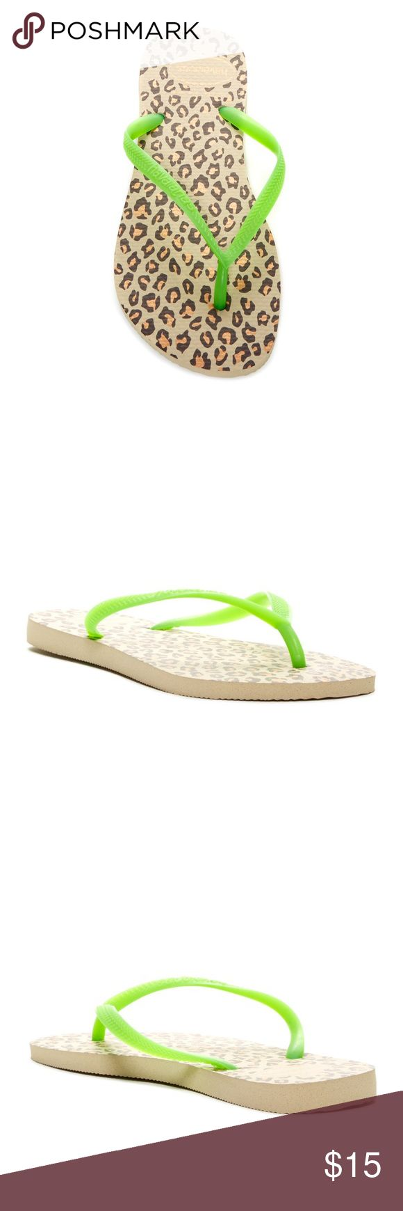 Slim Animal Flip Flop Brand new never worn. Sizing: If between sizes, order next size up. Reference size chart for European conversion: 39-40 = 9/10 US  - Thong toe - Slip-on - Leopard print foam footbed - Imported Materials: Rubber upper and sole Havaianas Shoes Sandals