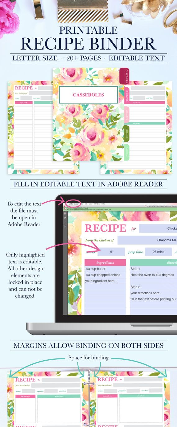 Printable Recipe Binder Kit - Personalized Family Recipe Binder - Recipe Pages - Recipe Organizer - Editable Text - Instant Download - PDF