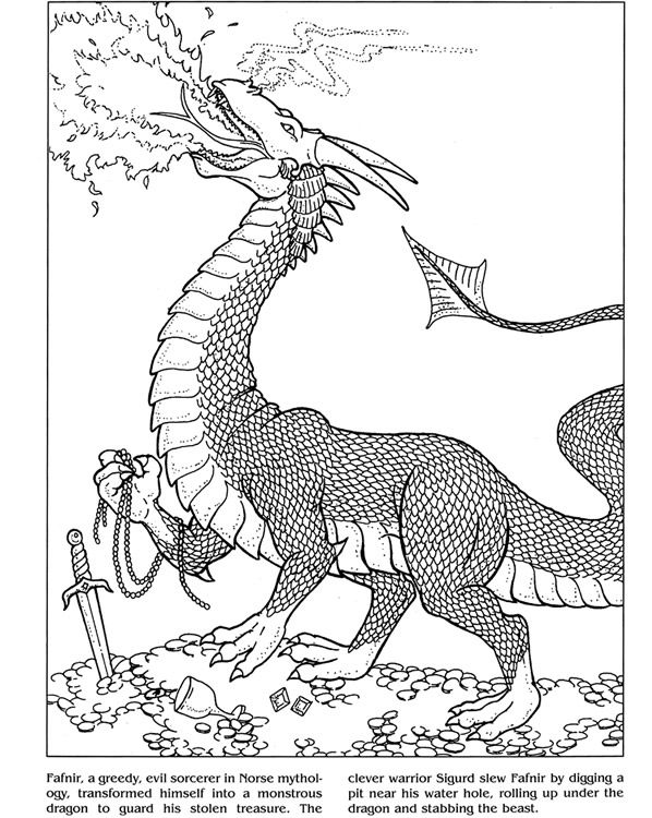 Dragons Coloring Book Dover Publications