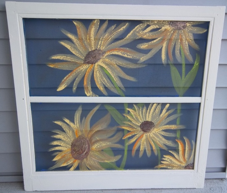 Sunflower painting I just finished on Vintage Screen. $30.00, via Etsy.