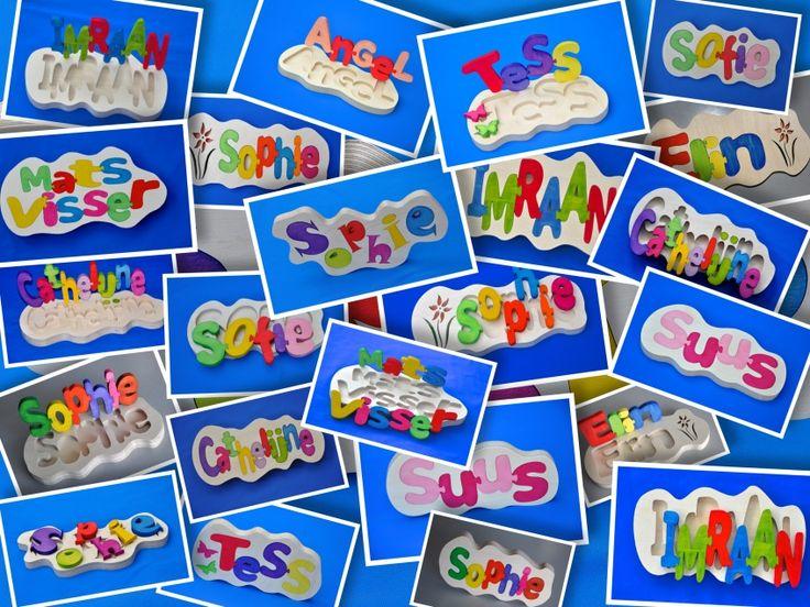 Naambord puzzel met eigen naam of als kraamcadeau letters los. | Naamborden van hout in uw eigen ontwerp. | wooden-gifts