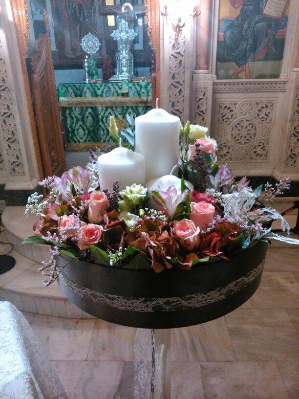 Vintage λαμπάδα γαμου με ορτανσιες και τριαντάφυλλα by flowers papadakis