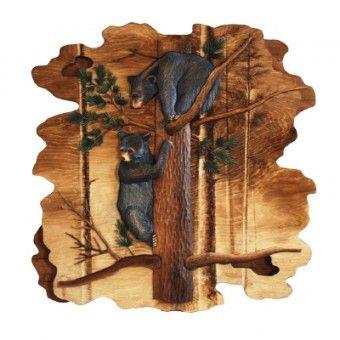 Black Bear Cubs in Tree Wood Art | black bear cub wood art | Cabin Decor