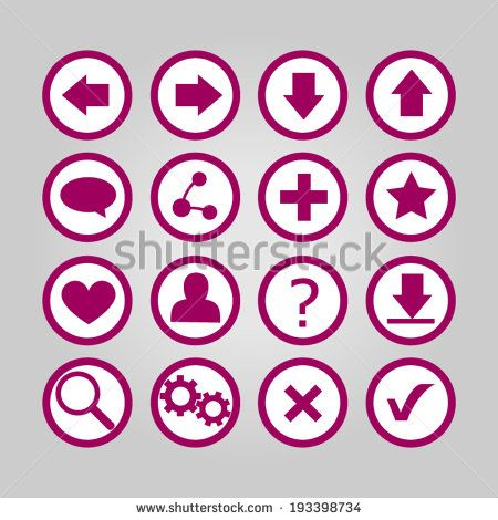 Set of simple white/purple vector icons for web - flat design | http://www.shutterstock.com/g/ajinak