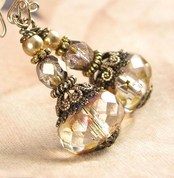 Cream Champagne Vintage Style Czech Glass by DorotaJewelry on Etsy, $29.90