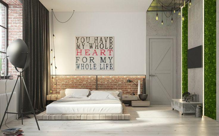 camas de matrimonio bajas dormitroio diseno industrial ideas