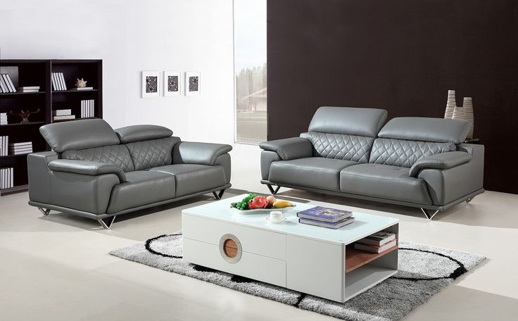 Divani Casa Wolford Modern Grey Leather Sofa Set - Stylish Design Furniture