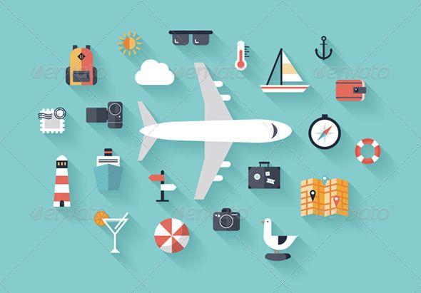 Vectors - Air Trip Flat Illustration Concept | GraphicRiver