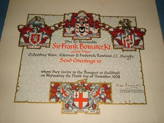 1938 Lord Mayor of London Sir Frank Bowater Huge by BiminiCricket, $65.00