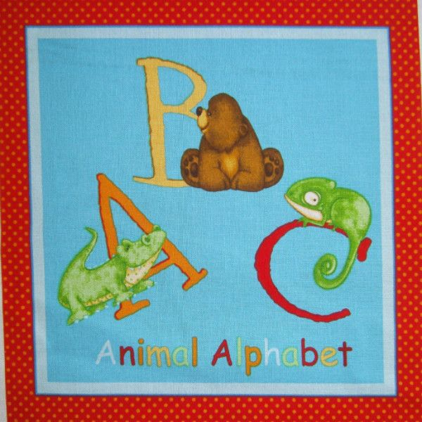 John Cotton Books: ABC Animal Alphabet Fabric Book Panel To Sew