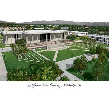 California State University, Northridge Campus Images Lithograph Print, Size: 14 inch x 10 inch