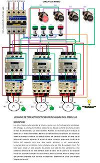 Esquemas eléctricos: Arranque de tres motores trifásicos en cascada en ...