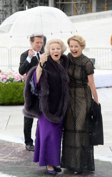 Princess Beatrix and Princess Mabel of The Netherlands are seen arriving at the Opera House on the occasion of the celebration of King Harald and...