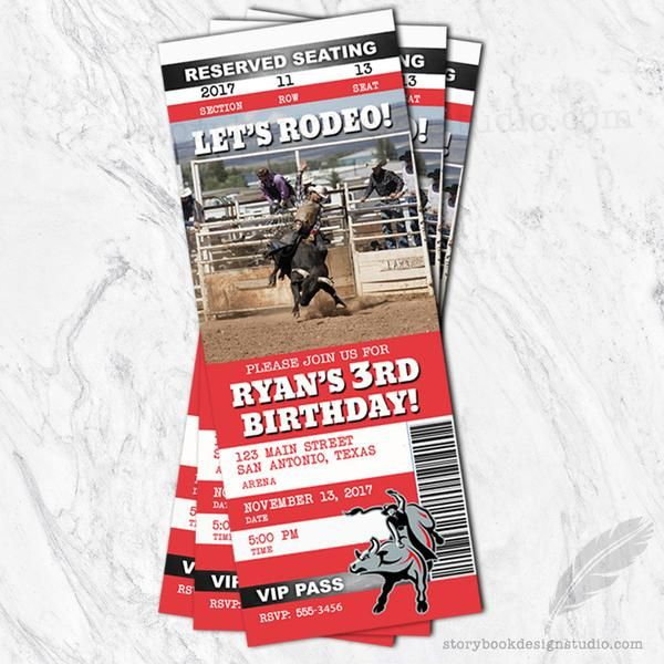 Rodeo Ticket Birthday Party Invitations – Storybook Design Studio
