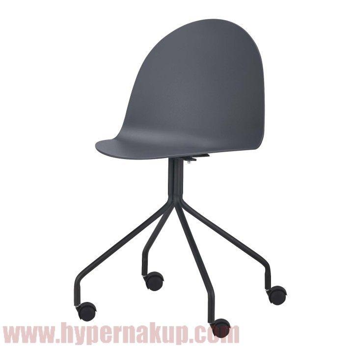 Stolička s kolieskami, plast + kov, tmavosivá + čierna, BRUNA