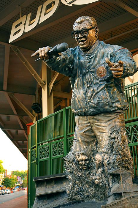Statue of Harry Caray outside Wrigley Field, Wrigleyville; Chicago, IL, USA