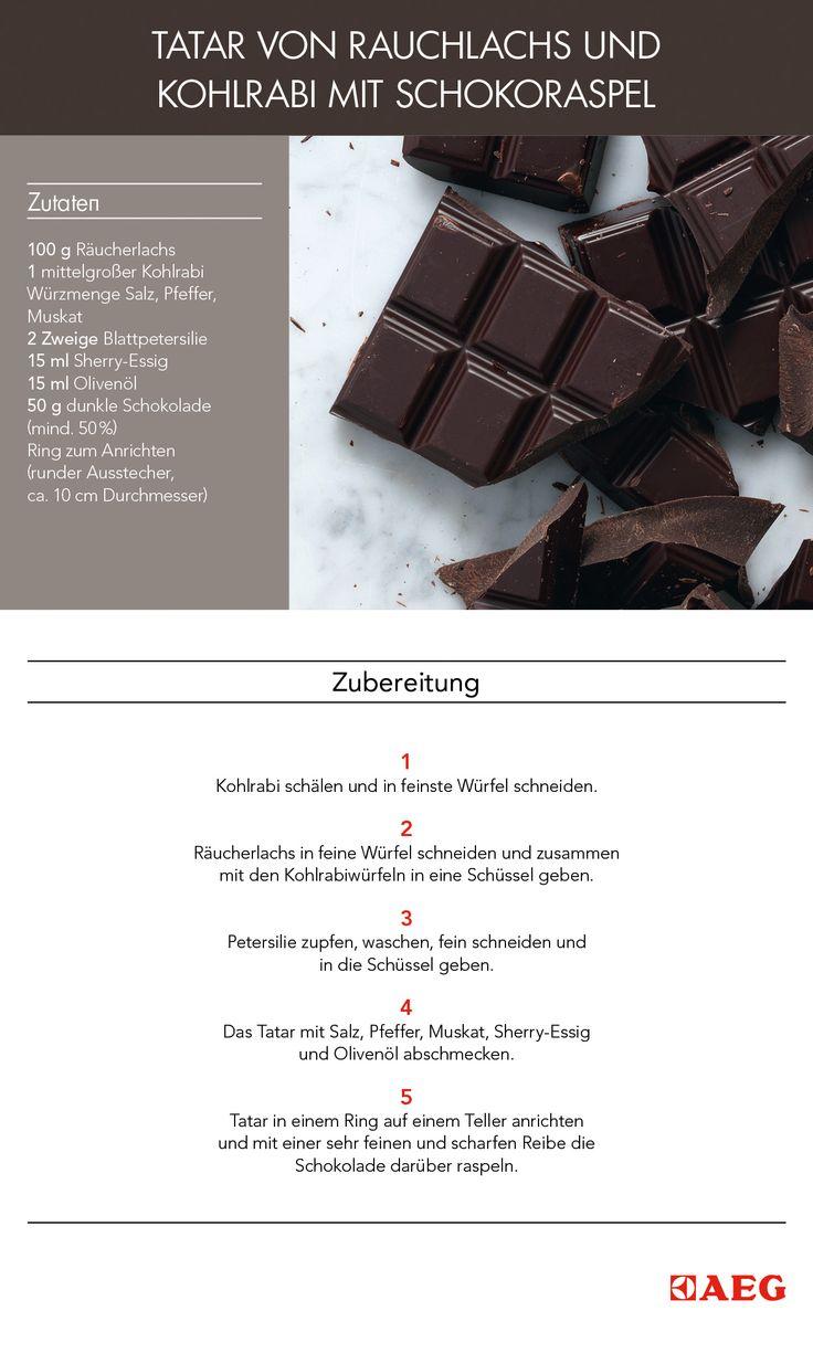 """Das ist das Flavour-Pairing-Rezept: """"Tatar von Rauchlachs und Kohlrabi mit Schokoraspel"""". #FlavourPairing hat es sich zur Aufgabe gemacht wissenschaftlich zu erklären, welche Aromen am besten harmonieren. So entstehen neuartige und ungeahnte Pairing-Optionen."""