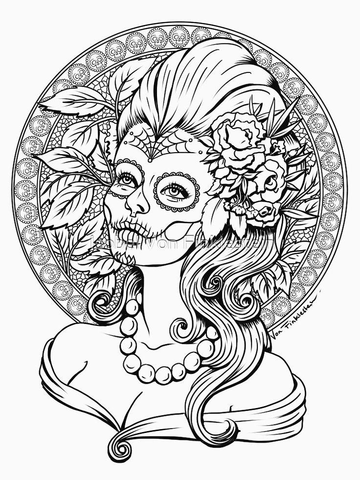 autumn sugar skull girl  black and white  slim fit t