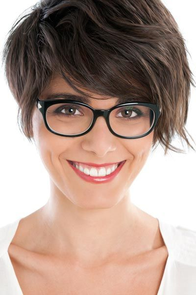Short Hair With Bangs - Perfect for wavy or curly hair! ((add some faux glasses and I think this would be way cute on you ;))