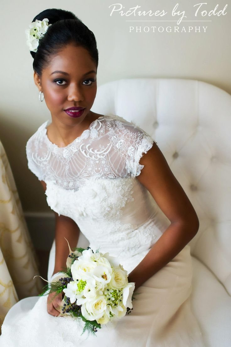 White and Gold Wedding. African American. Black Bride. Elizabeth Filmore Gown; Pictures by Todd Photography - beautiful Black bride with clean classic makeup and plum lipstick