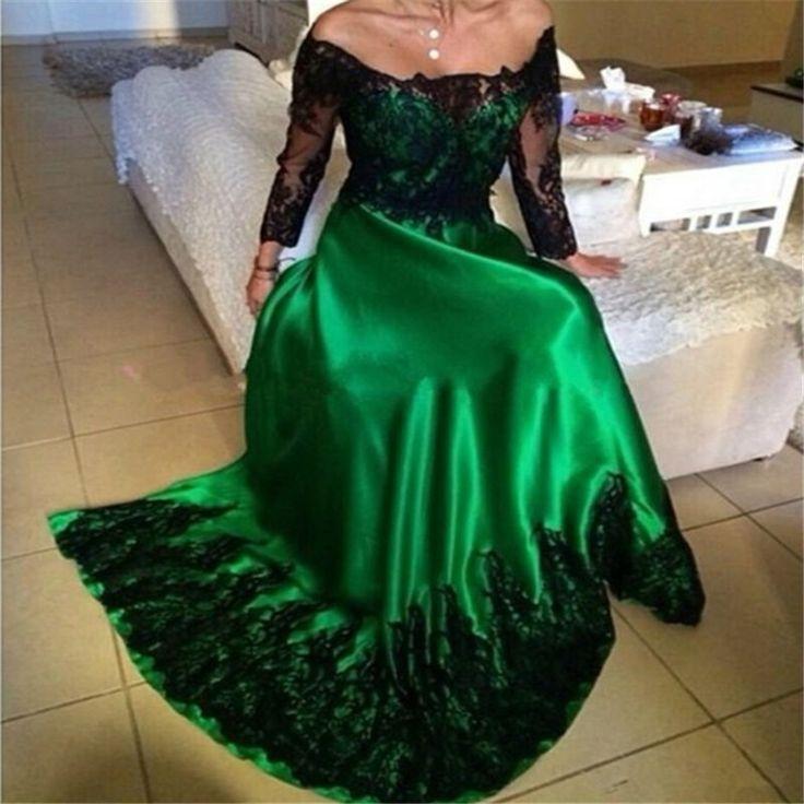 Off the Shoulder Emerald Green Evening Dress Elegant Long Sleeve Prom Dresses
