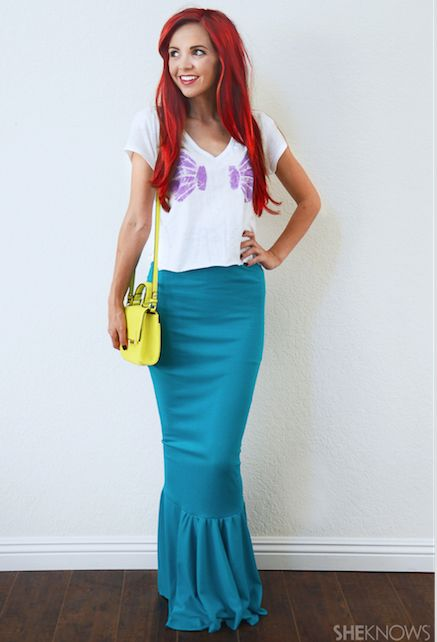 Disney Costume Ideas - This Ariel costume from Little Mermaid is so cool and looks easy to make too if you have basic sewing skills. It will make a fabulous costume idea for a themed Little Mermaid Party or any other Fancy Dress Party.