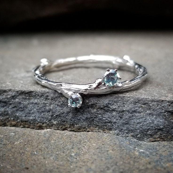 Genuine alexandrite ring white gold twig ring unique