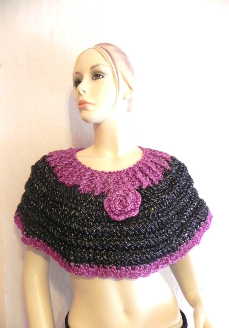 chauffe-épaules couvre-bras châle étole laine tricoté main noir argenté rose Fuchsia argenté Yolande made in France : Echarpe, foulard, cravate par yolande