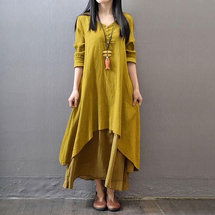 Yellow Long Sleeve Maxi Linen Dress