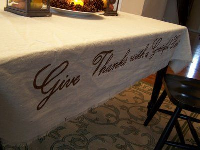 Maybe I could do a long linen runner and at the end stencil something for a good photo.