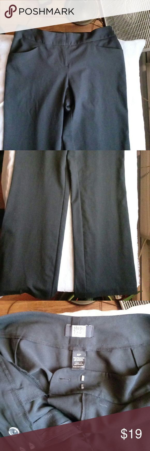 Studio 1940 petite black dress pants Black pants two pockets in front made from 72% polyester 23% rayon 5% spandex Studio 1940 Pants Straight Leg