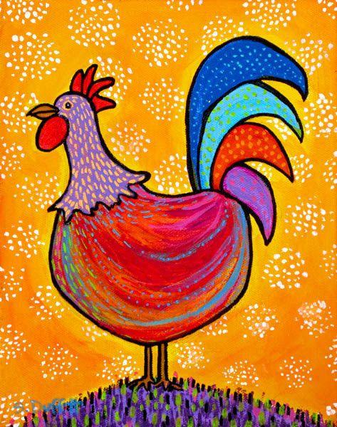 Pequeño gallo rojo, impresión de arte popular