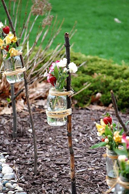 Mason jar branch vases - Good idea for a wedding @Krysta Myers