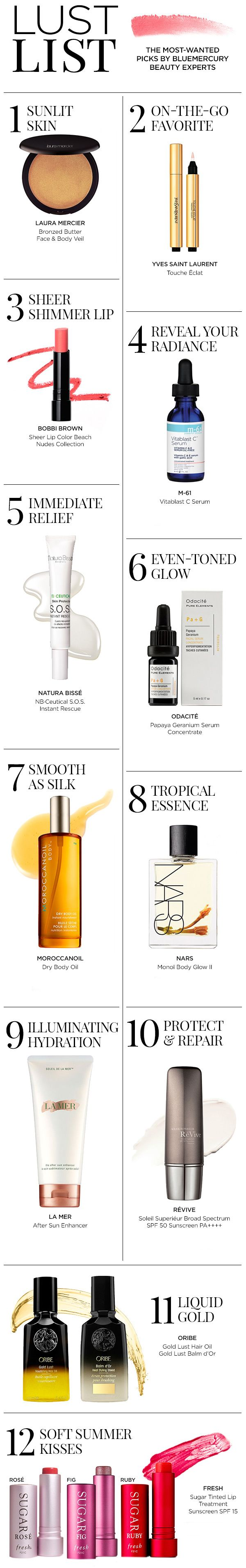 The most-wanted picks by Bluemercury Beauty Experts. Including products from Bobbi Brown, La Mer, Laura Mercier, M-61, Morrocanoil, Nars, YSL and more.