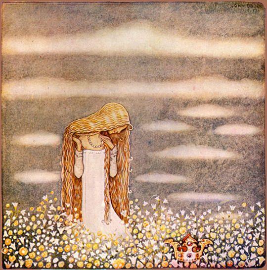 """""""Princess Tuvstarr in a Field"""" by John Bauer."""