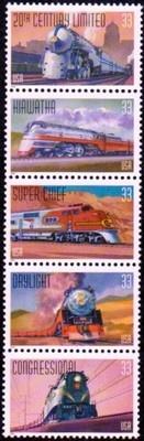1999 33c All Aboard, Trains Strip of 5 Scott 3333-37 Mint F/VF NH