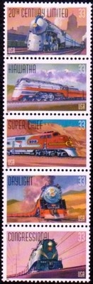 US Stamps 1999 - 33c All Aboard, Trains Strip of 5