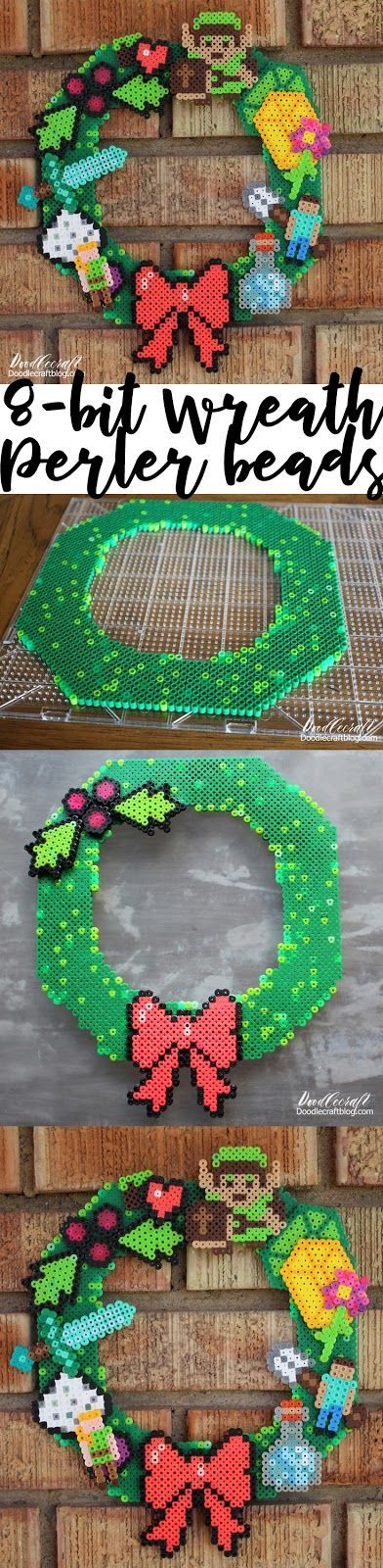 Perler Bead Wreath DIY #PerlerBeads #Christmas #christmasdecor