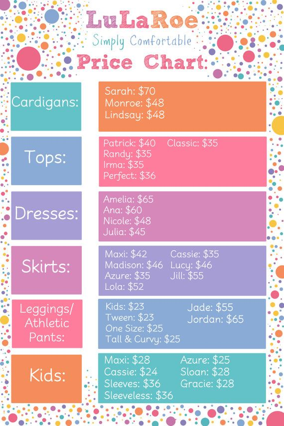 Price list for LuLaRoe by KingdomOfFireArt on Etsy