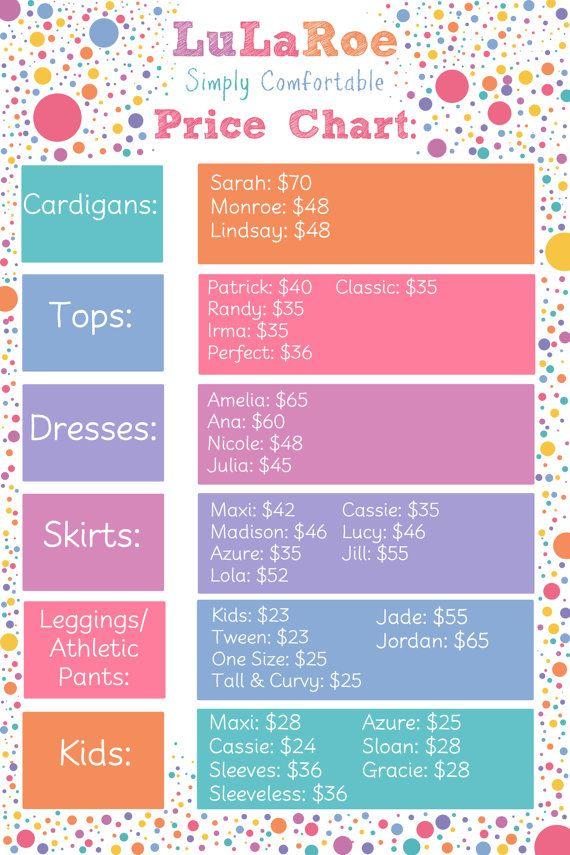 Price list for LuLaRoe by KingdomOfFireArt on Etsy
